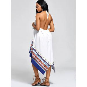 Robe Backless High Low Halter Handkerchief - Blanc S