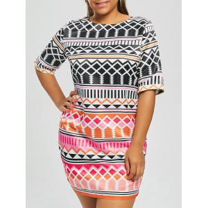 Geometric Printed Plus Size Fitted Dress