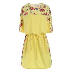Plus Size Floral Drawstring Blouson Dress - Yellow - 6xl