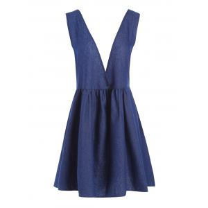 Plus Size Chambray Lace Up Pinafore Dress