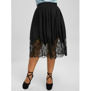 Plus Size Lace Trim Pleated Midi Skirt