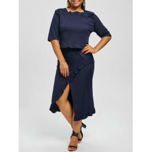 Plus Size Crop Top and Flounce Slit Skirt Twinset - Purplish Blue - 3xl