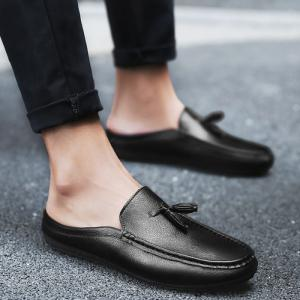 Tassels Faux Leather Casual Shoes - Black - 44