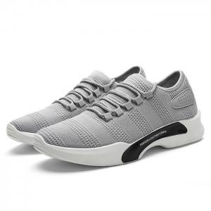 Breathable Mesh Tie Up Athletic Shoes - GRAY 43