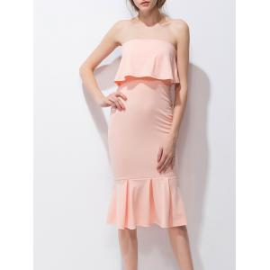 Ruffled StraplessTube Midi Fishtail Party Dress