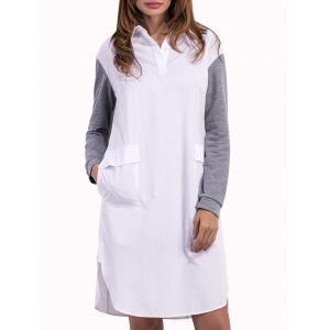 Pocket Long Sleeve Shift Mini Dress