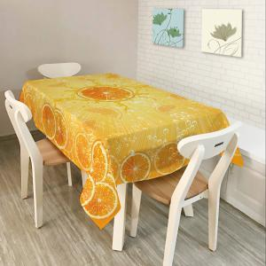 Orange Print Fabric Waterproof Dining Table Cloth