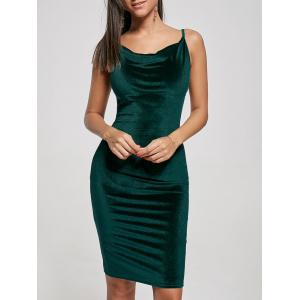 Bodycon Velvet Slip Dress - Blackish Green - M