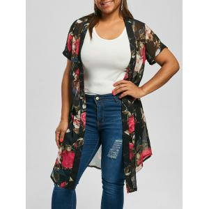 Floral Long Plus Size Kimono Top - Black - 2xl