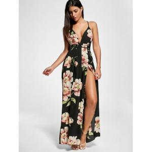 Floral Slit Backless Maxi Slip Plunge Dress - BLACK XL