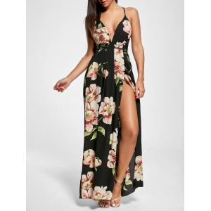 Floral Slit Backless Maxi Slip Plunge Dress