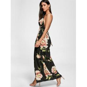 Floral Slit Backless Maxi Slip Plunge Dress - BLACK M