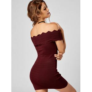 Off Shoulder Knitted Scalloped Tight Bodycon Dress -