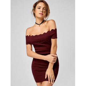 Off The Shoulder Knitted Scalloped Bodycon Dress - WINE RED ONE SIZE