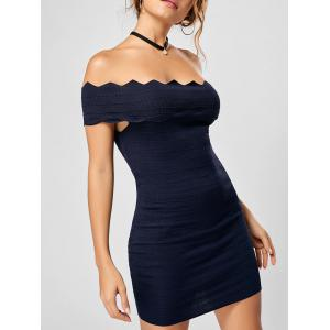 Off The Shoulder Knitted Scalloped Bodycon Dress