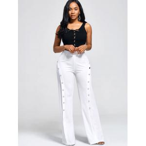 Buttons High Waist Boot Cut Pants - White - 2xl