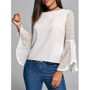 Flare Sleeve Lace Trim Blouse - White - 2xl