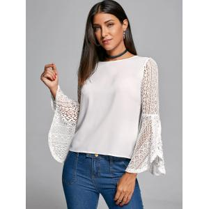 Flare Sleeve Lace Trim Blouse - WHITE 2XL