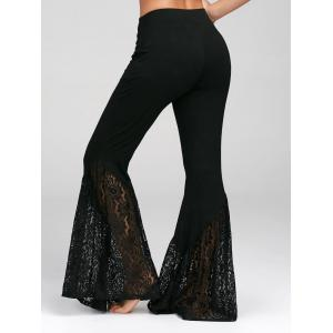 Lace Insert High Waisted Bell Bottom Pants - BLACK L