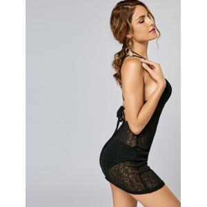 Knitted Backless See Thru Mini Dress - BLACK S