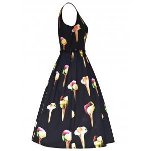 Vintage Ice Cream Print Fit and Flare Dress - BLACK S