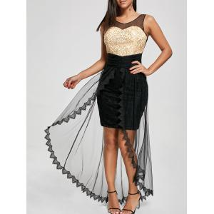 Prom Glitter Tulle Mesh Party Dress - Black - M