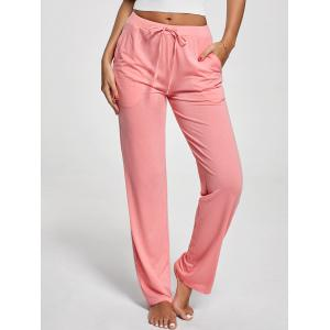 Vertical Pockets Drawstring Pants - Pink - M
