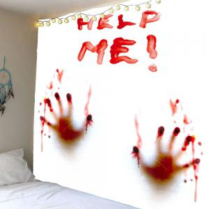 Home Decor Bloody Help Me Handprint Wall Tapestry - Red - W71 Inch * L71 Inch