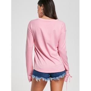 Crew Neck Lace Up Tee - PINK L