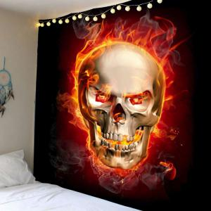 Home Decor Skull in Fire Wall Hanging Tapestry - Wine Red - W79 Inch * L79 Inch