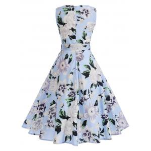 Vintage Floral Sleeveless A Line Dress -