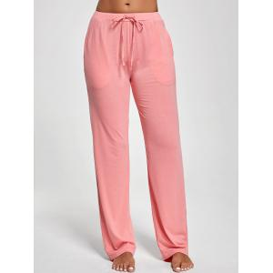 Vertical Pockets Drawstring Pants - PINK M