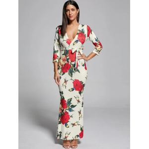 Plunge Floral Fitted Maxi Sheath Dress - OFF-WHITE S