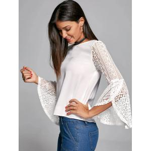 Flare Sleeve Lace Trim Blouse -