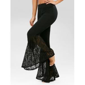 Lace Insert High Waisted Bell Bottom Pants -