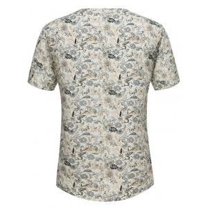 Notch Neck Tiny Floral Print Tee -
