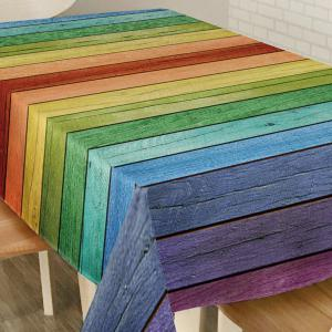 Colorful Wood Grain Print Home Decor Table Cloth -