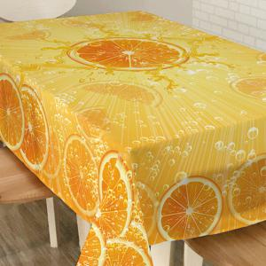 Orange Print Fabric Waterproof Dining Table Cloth -