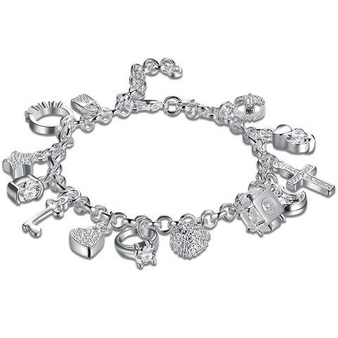 Best Cross Heart Moon Ball Charm Bracelet SILVER