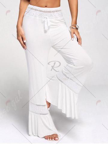 Store Lace Insert High Waisted Flowy Palazzo Pants - WHITE 2XL Mobile