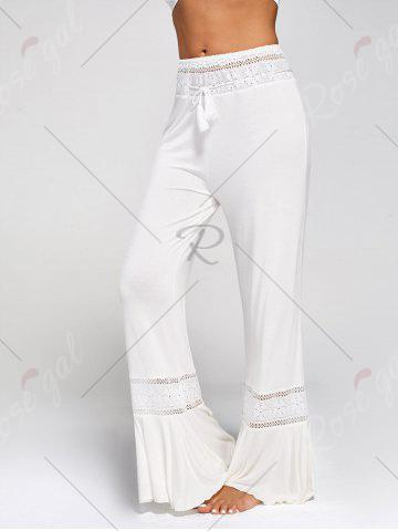 Hot Lace Insert High Waisted Flowy Palazzo Pants - WHITE 2XL Mobile