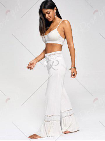 Discount Lace Insert High Waisted Flowy Palazzo Pants - WHITE 2XL Mobile