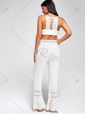 Outfits Lace Insert High Waisted Flowy Palazzo Pants - WHITE 2XL Mobile