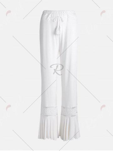 New Lace Insert High Waisted Flowy Palazzo Pants - WHITE 2XL Mobile