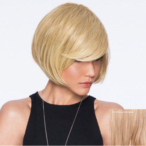 Hot Short Inclined Bang Straight Bob Human Hair Wig - BROWN WITH BLONDE  Mobile