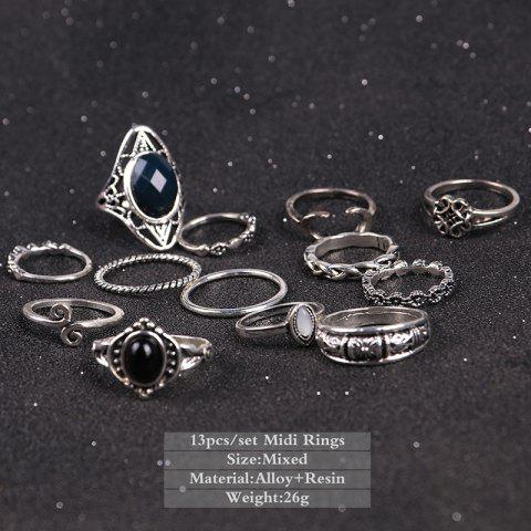 Best Vintage Moon Finger Cuff Ring Set - SILVER  Mobile