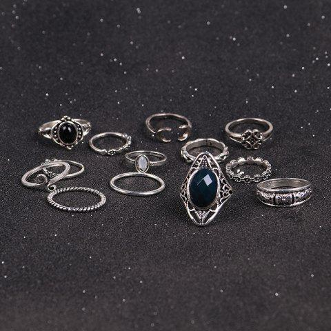 Chic Vintage Moon Finger Cuff Ring Set - SILVER  Mobile