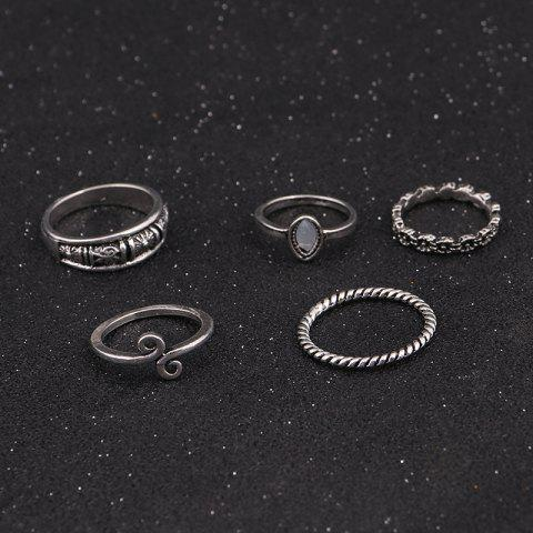 Outfits Vintage Moon Finger Cuff Ring Set - SILVER  Mobile
