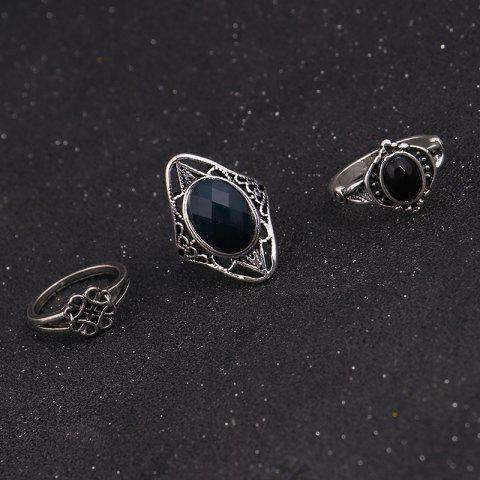 Latest Vintage Moon Finger Cuff Ring Set - SILVER  Mobile