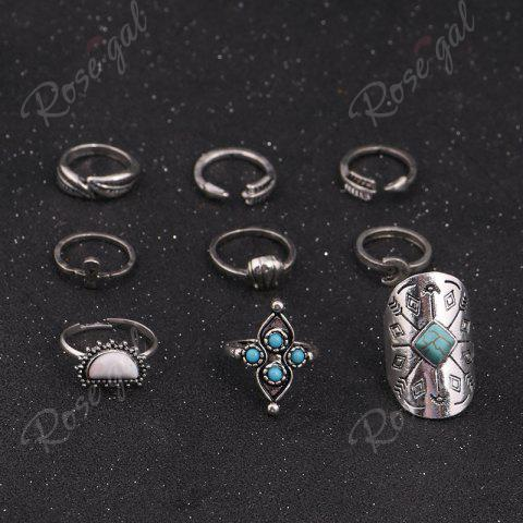 Latest Crucifix Leaf Moon Arrow Finger Ring Set - SILVER  Mobile